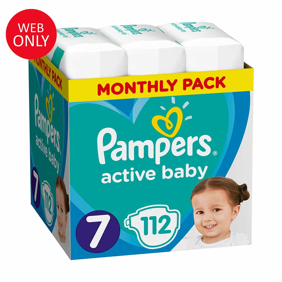 Pampers Active Baby No7 (15+ kg) Monthly Pack 112τεμ. (Παράδοση 4-7 ημέρες)