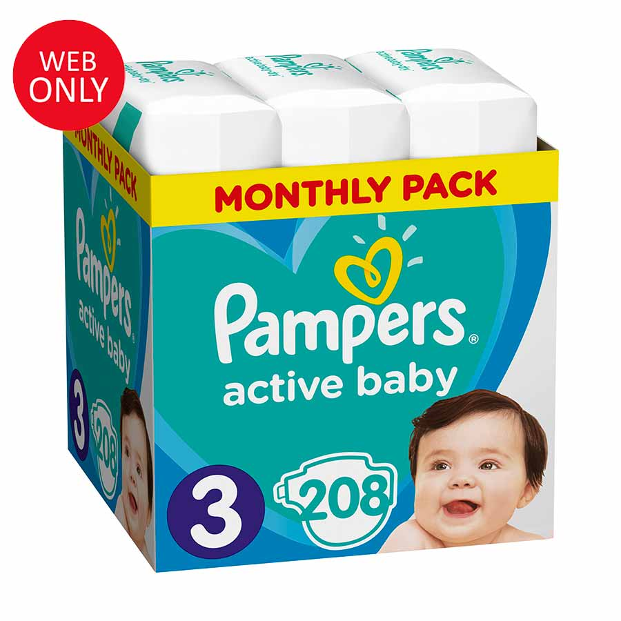 Pampers Active Baby No3 (6-10 kg) Monthly Pack 208τεμ. (Παράδοση 4-7 ημέρες)