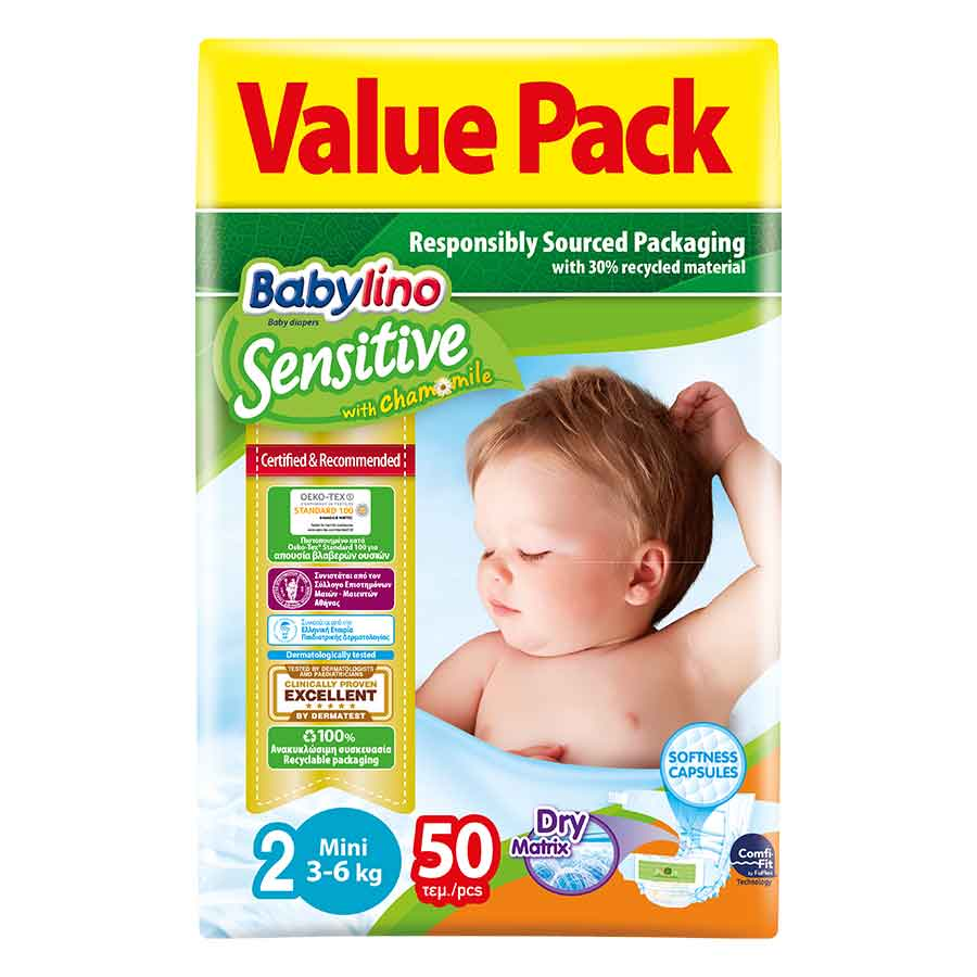 Babylino Sensitive Πάνες Νο2 Value Pack 3-6kg. 50τεμ.