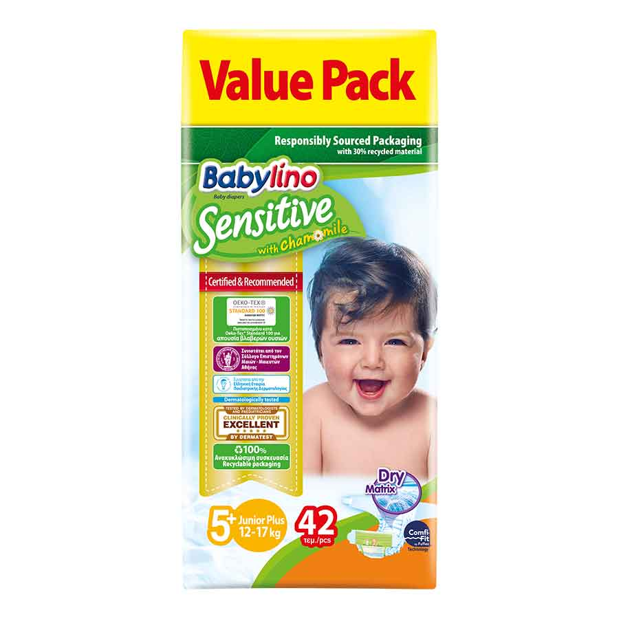 Babylino Sensitive Πάνες Νo5+ Value Pack 13-27kg. 42τεμ.