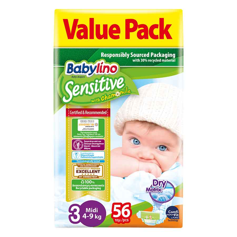 Babylino Sensitive Πάνες No3 Value Pack 4-9kg. 56τεμ.