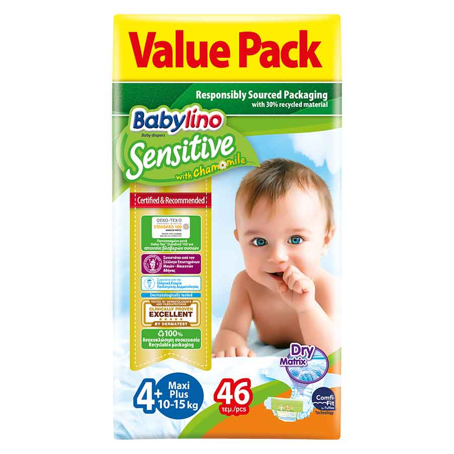 Babylino Sensitive Πάνες No4+ Value Pack 10-15kg. 46τεμ.