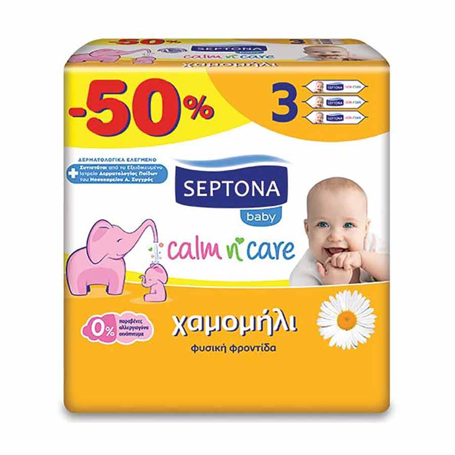 Septona Μωρομάντηλα Χαμομήλι 3x64τεμ. (-50%Φθηνότερα)
