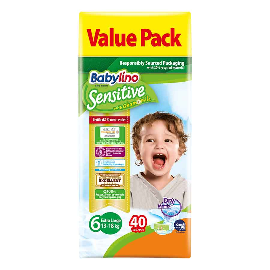 Babylino Sensitive Πάνες No6 Value Pack 15-30kg. 40τεμ.