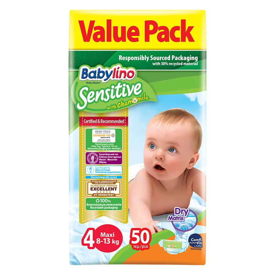 Babylino Sensitive Πάνες No4 Value Pack 8-13kg. 50τεμ.