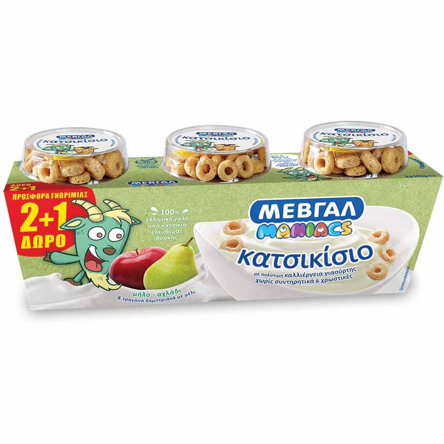 Μεβγάλ Μaniacs Επιδόρπιο Κατσικίσιου Γιαουρτιού Μήλο &Αχλάδι 143γρ. 2+1Δώρο