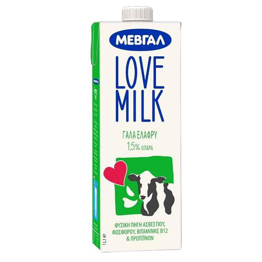 Μεβγάλ Love Milk Γάλα Υψηλής Παστερίωσης 1,5% 1lt.