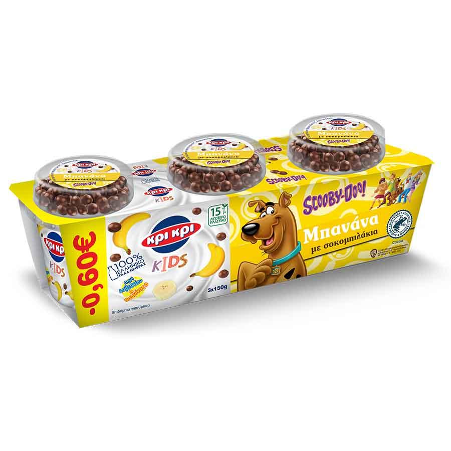 Κρι Kρι Kids Επιδόρπιο Γιαουρτιού Scooby Doo Μπανάνα 3x150γρ. (-0,60€)