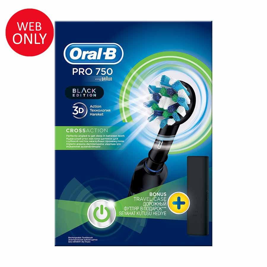 Oral-B Pro 750 Μαύρη Ηλεκτρική Οδοντόβουρτσα +Δώρο Θήκη  (Παράδοση 4-7 ημέρες)