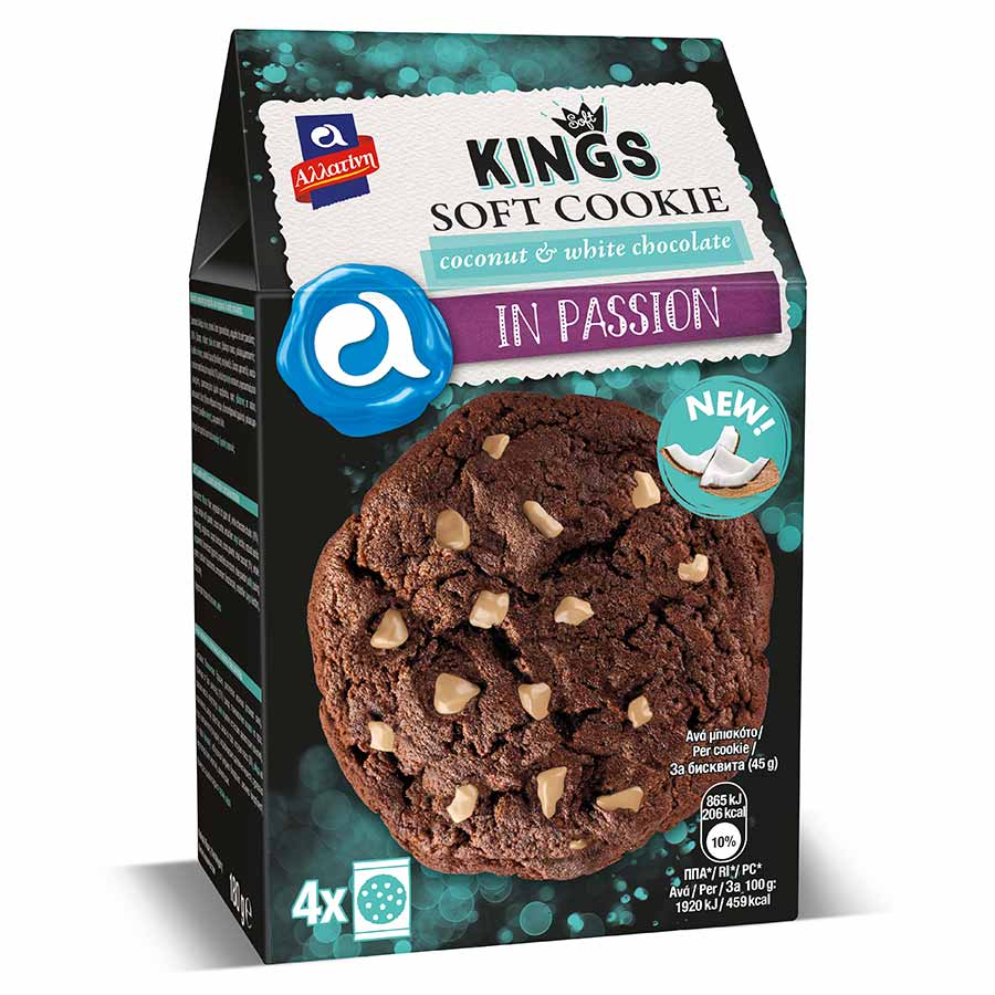 Αλλατίνη Soft Kings Μπισκότα Coconut & White Chocolate 180γρ.