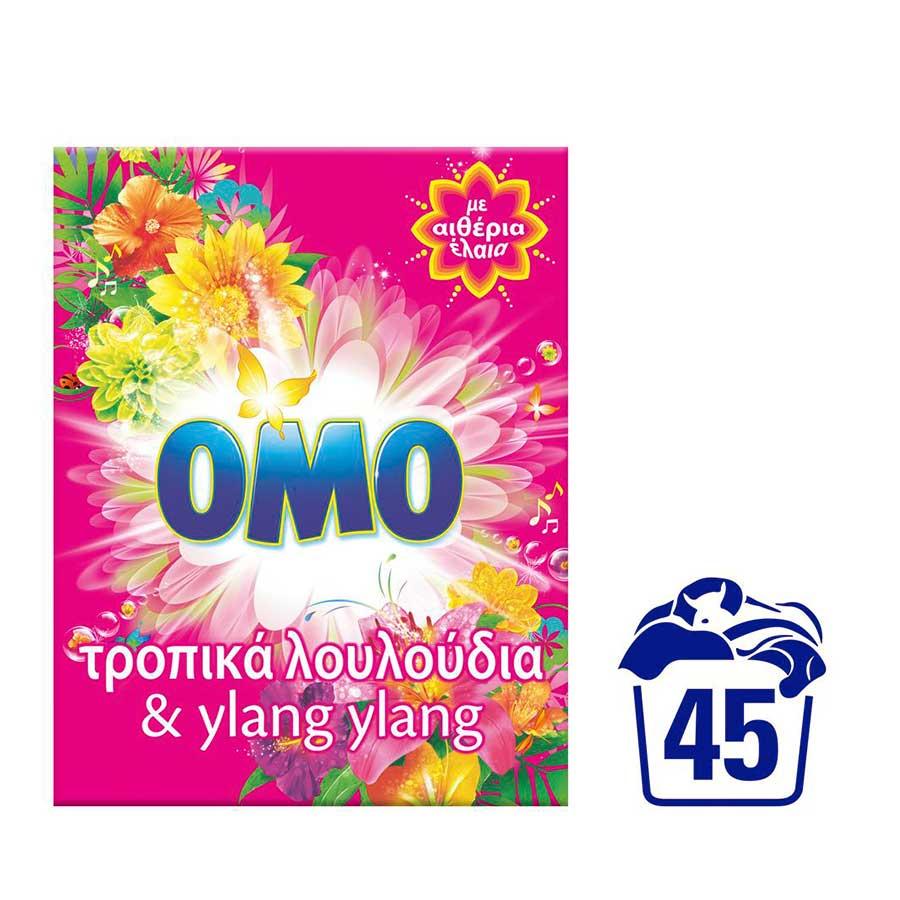 Omo Τροπικά Λουλούδια Σκόνη 45mez. 2,520kg.