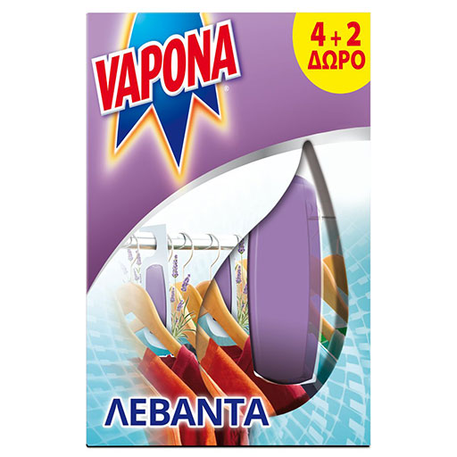 Vapona Σκοροκτόνο Gel Λεβάντα 4+2 Δώρο